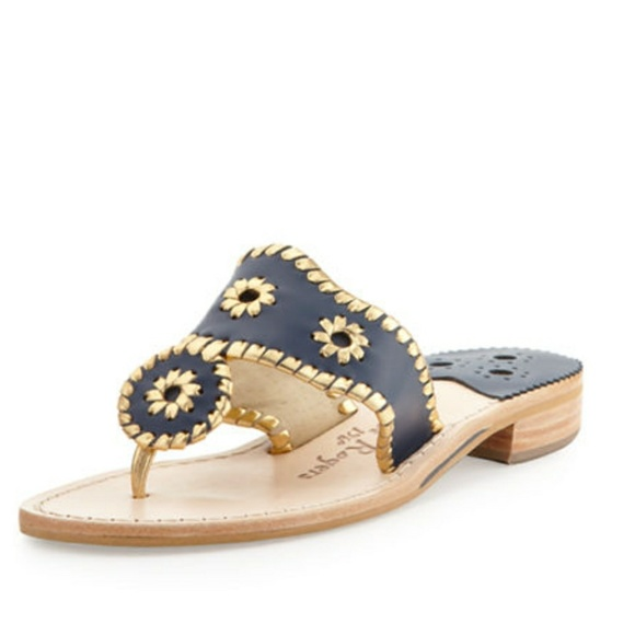 748760710d45 Jack Rogers Shoes - Jack Rogers Midnight Blue Gold Nantucket Sandal 10